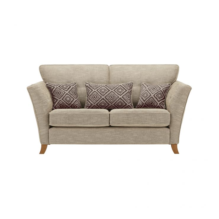 Grosvenor Traditional 2 Seater Sofa in Beige with Grey Scatters - Image 1