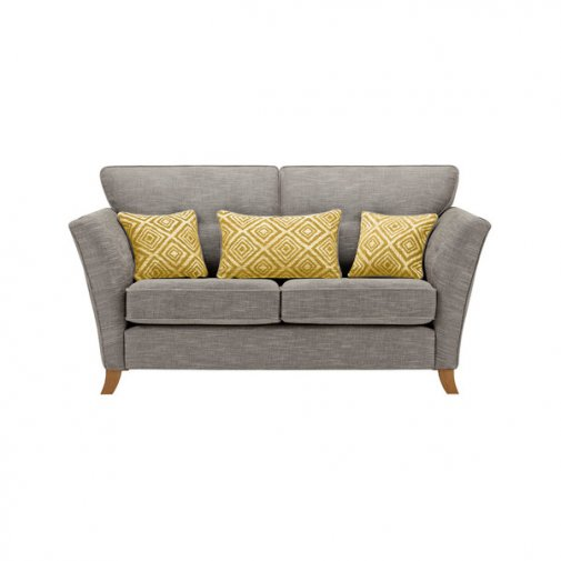 Grosvenor Traditional 2 Seater Sofa in Grey with Yellow Scatters