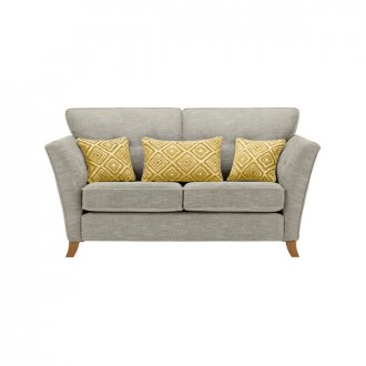 Grosvenor Traditional 2 Seater Sofa in Silver with Yellow Scatters