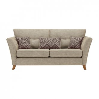 Grosvenor Traditional 3 Seater Sofa in Beige with Grey Scatters