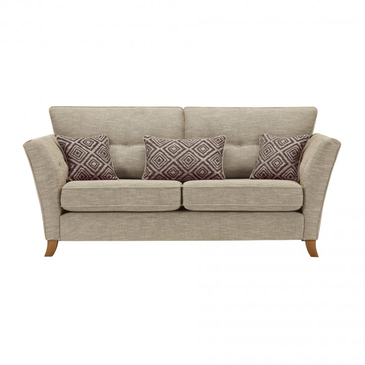 Grosvenor Traditional 3 Seater Sofa in Beige with Grey Scatters - Image 1
