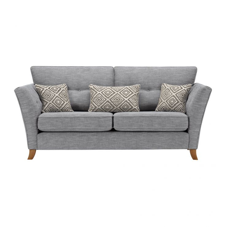 Grosvenor Traditional 3 Seater Sofa in Blue with Silver Scatters - Image 1