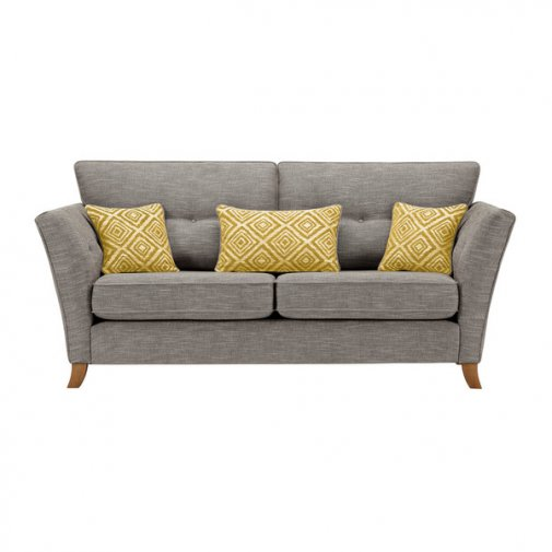 Grosvenor Traditional 3 Seater Sofa in Grey with Yellow Scatters