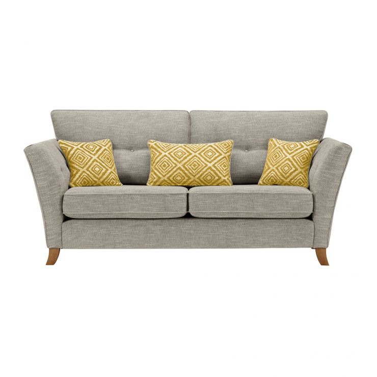 Grosvenor Traditional 3 Seater Sofa in Silver with Yellow Scatters - Image 1