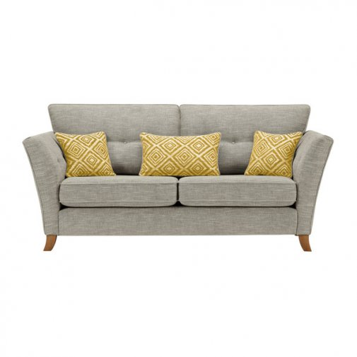 Grosvenor Traditional 3 Seater Sofa in Silver with Yellow Scatters