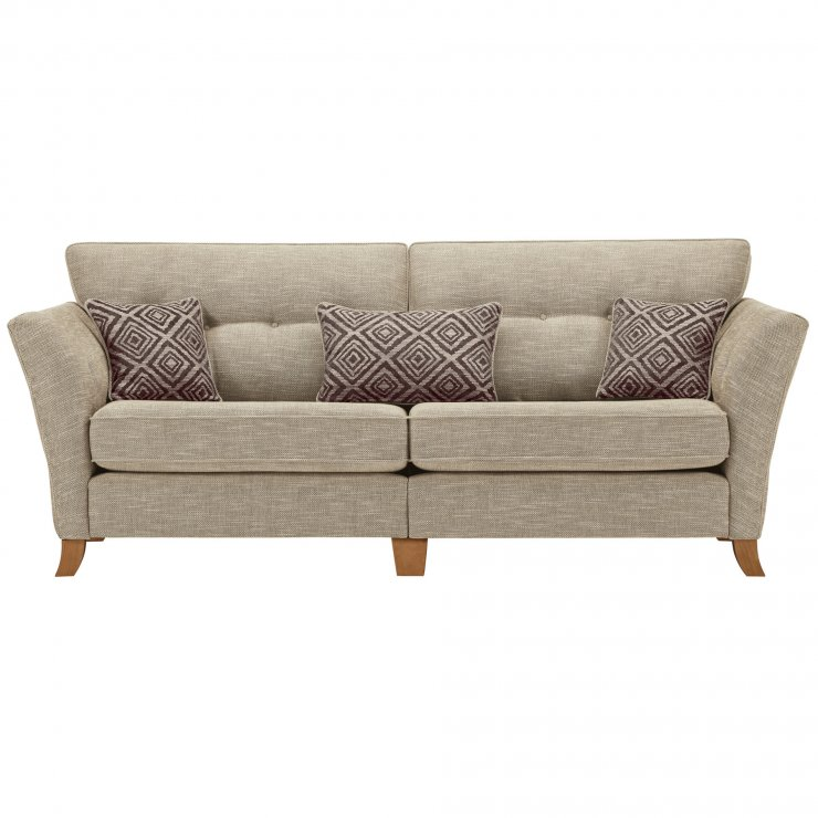 Grosvenor Traditional 4 Seater Sofa in Beige with Grey Scatters - Image 1