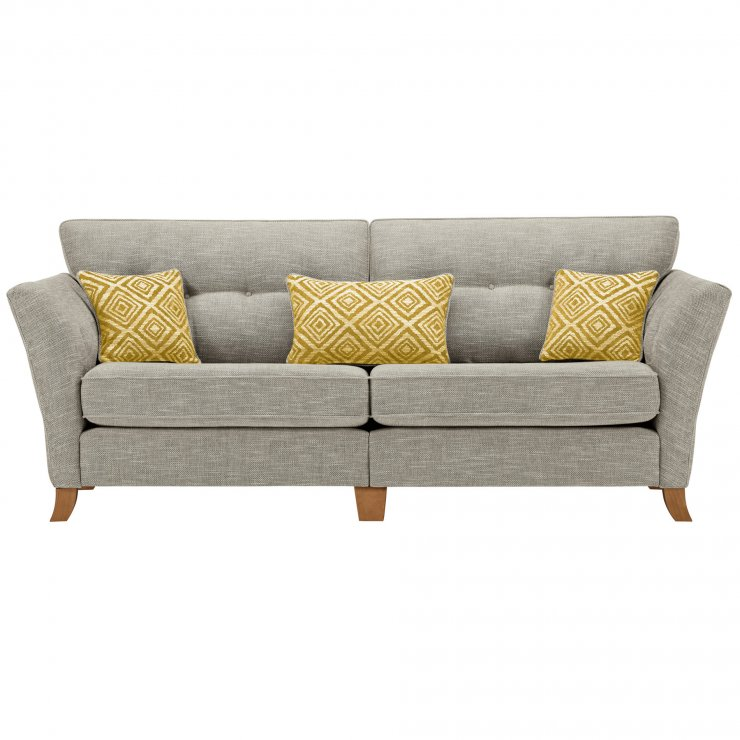 Grosvenor Traditional 4 Seater Sofa in Silver with Yellow Scatters - Image 1
