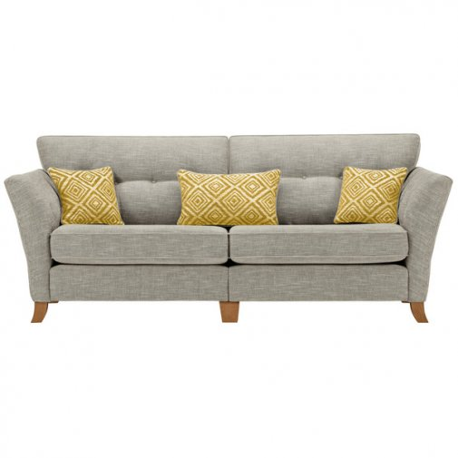 Grosvenor Traditional 4 Seater Sofa in Silver with Yellow Scatters