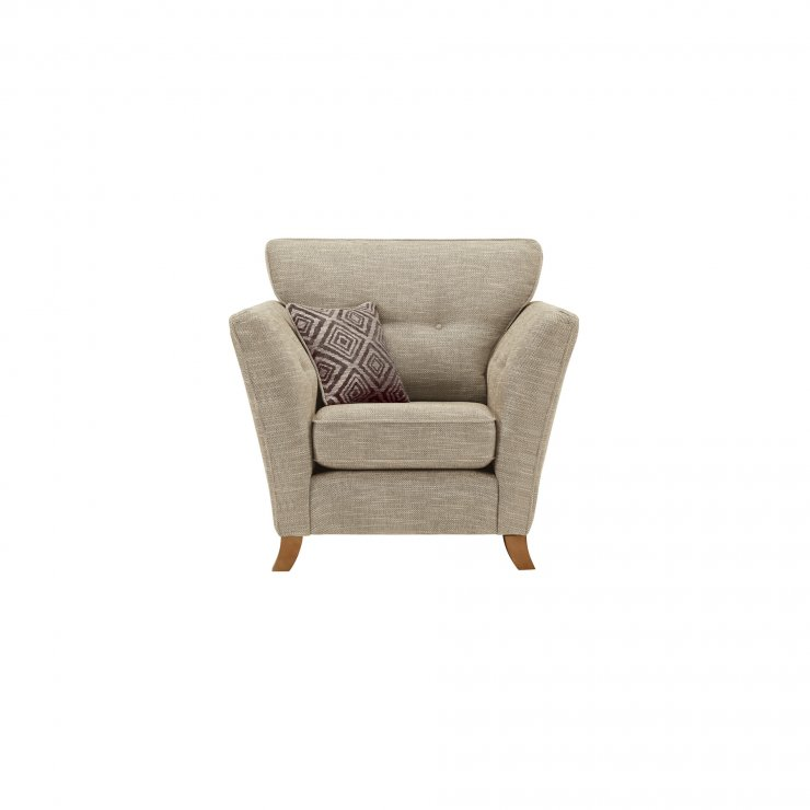 Grosvenor Traditional Armchair in Beige with Grey Scatters - Image 1