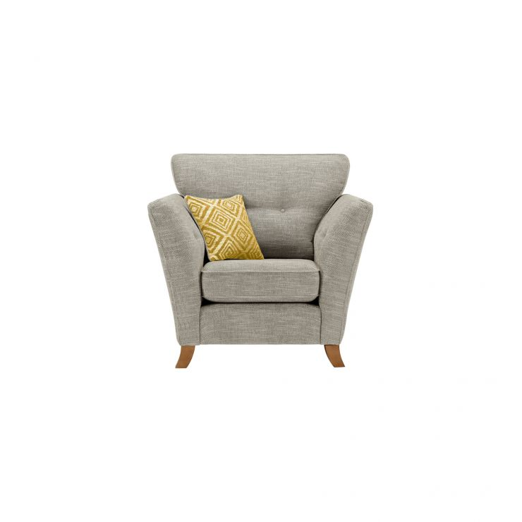 Grosvenor Traditional Armchair in Silver with Yellow Scatters - Image 1