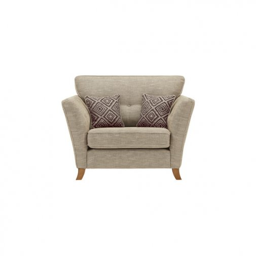 Grosvenor Traditional Loveseat in Beige with Grey Scatters