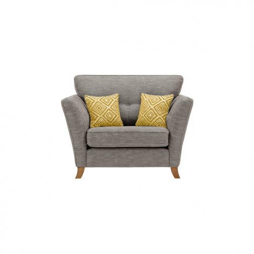 Grosvenor Traditional Loveseat in Grey with Yellow Scatters