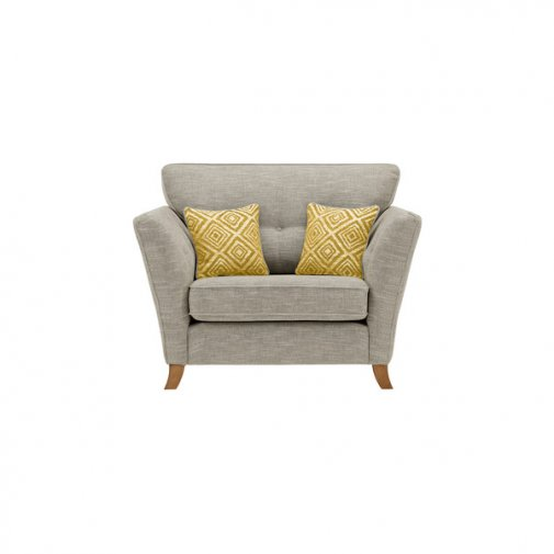 Grosvenor Traditional Loveseat in Silver with Yellow Scatters