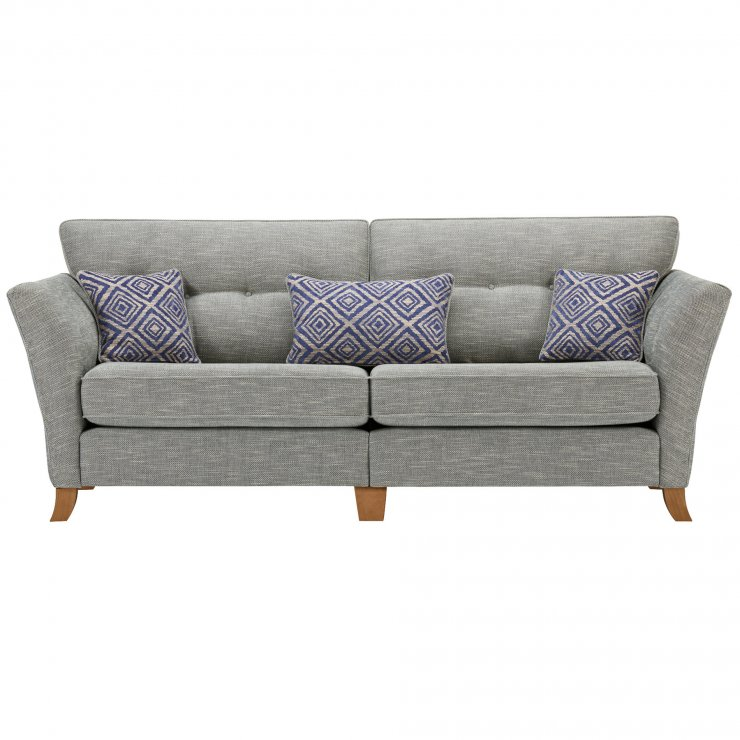 Grosvenor Traditional 4 Seater Sofa in Blue with Blue Scatters - Image 1