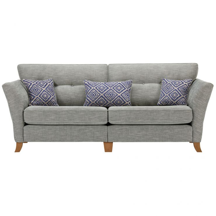 Grosvenor Traditional 4 Seater Sofa in Blue with Blue Scatters