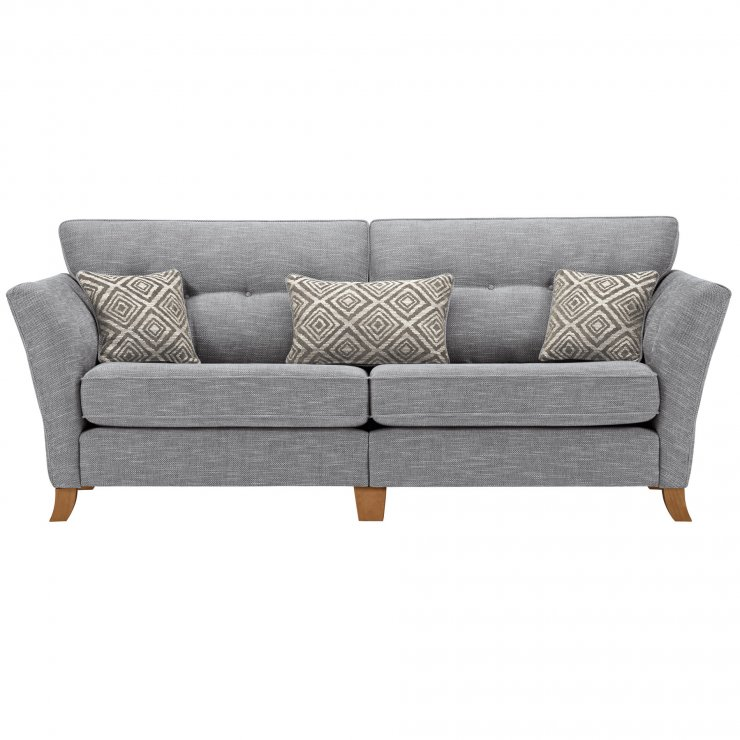 Grosvenor Traditional 4 Seater Sofa in Blue with Silver Scatters - Image 1