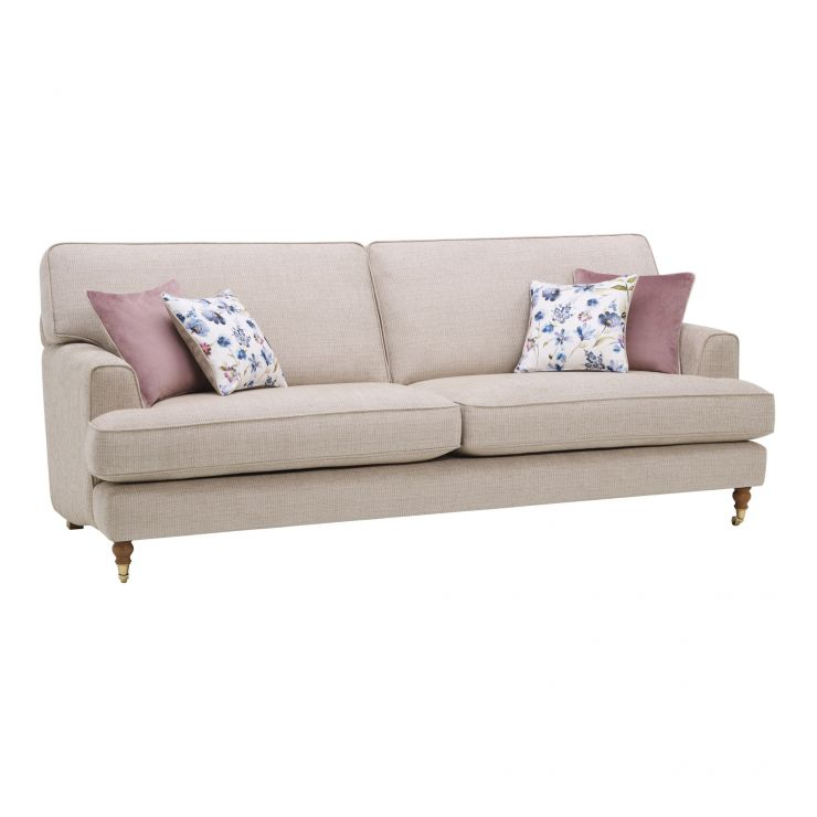 Hampstead 3 Seater Sofa in Beige with Blush and Floral Scatters