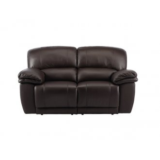 Harley 2 Seater Sofa with 2 Manual Recliners - Brown Leather