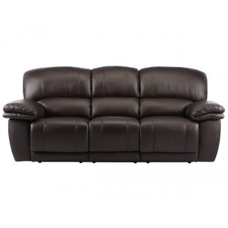 Harley 3 Seater Sofa with 2 Manual Recliners - Brown Leather