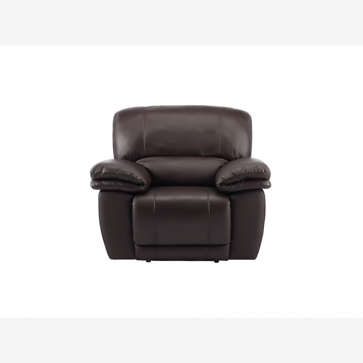 Harley Armchair with Manual Recliner - Brown Leather - Image 2