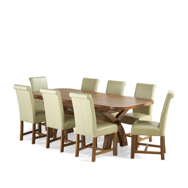 """Hercules 5ft3""""–9ft2""""Extendable Dining Table in Rustic Solid Oak+8 Braced Scroll Back Leather Chairs"""
