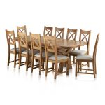 Hercules 6ft Extending Dining Set in Natural Solid Oak + 10 Cross Back Chairs - Thumbnail 1