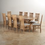 Hercules 6ft Extending Dining Set in Natural Solid Oak + 10 Grey Chairs - Thumbnail 2