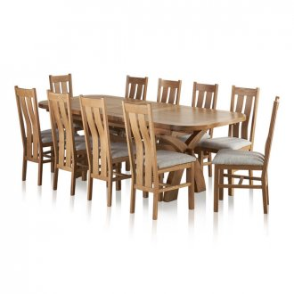 Hercules 6ft Extending Dining Set in Natural Solid Oak + 10 Grey Chairs