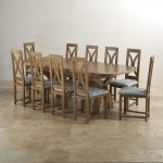 Hercules Rustic Oak Dining Set - 9ft Extending Table + 10 Loop Back Patterned Duck Egg Fabric Chairs - Thumbnail 2