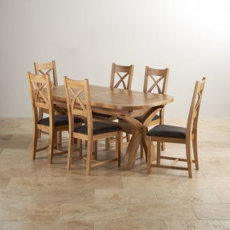 Hercules 6ft Extending Dining Set in Natural Solid Oak & 6 Cross Back Plain Charcoal Fabric Chairs