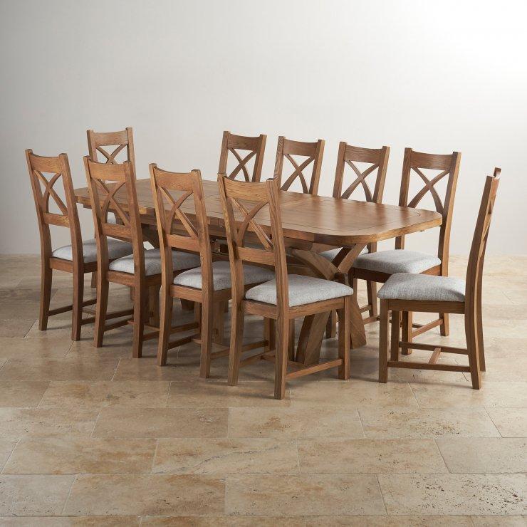 Edinburgh 6ft Extending Oak Dining Table 6 Plain Sage Chairs: Hercules Dining Set In Rustic Oak