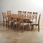 Hercules 6ft Extending Dining Set in Rustic Solid Oak & 10 Cross Back Plain Grey Fabric Chairs - Thumbnail 1