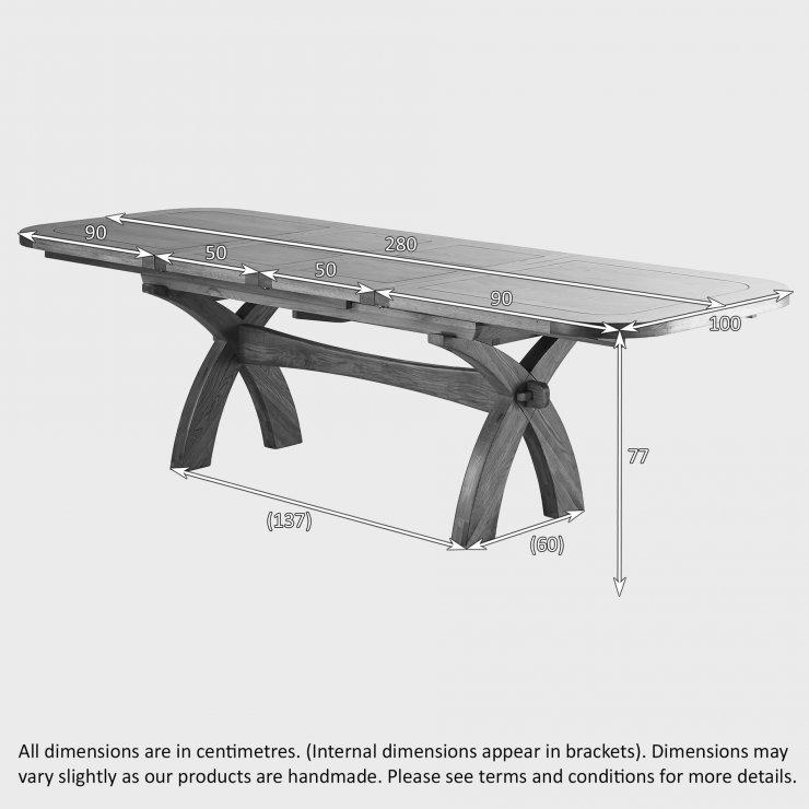 Hercules 6ft Extending Dining Set in Rustic Solid Oak & 10 Cross Back Plain Grey Fabric Chairs