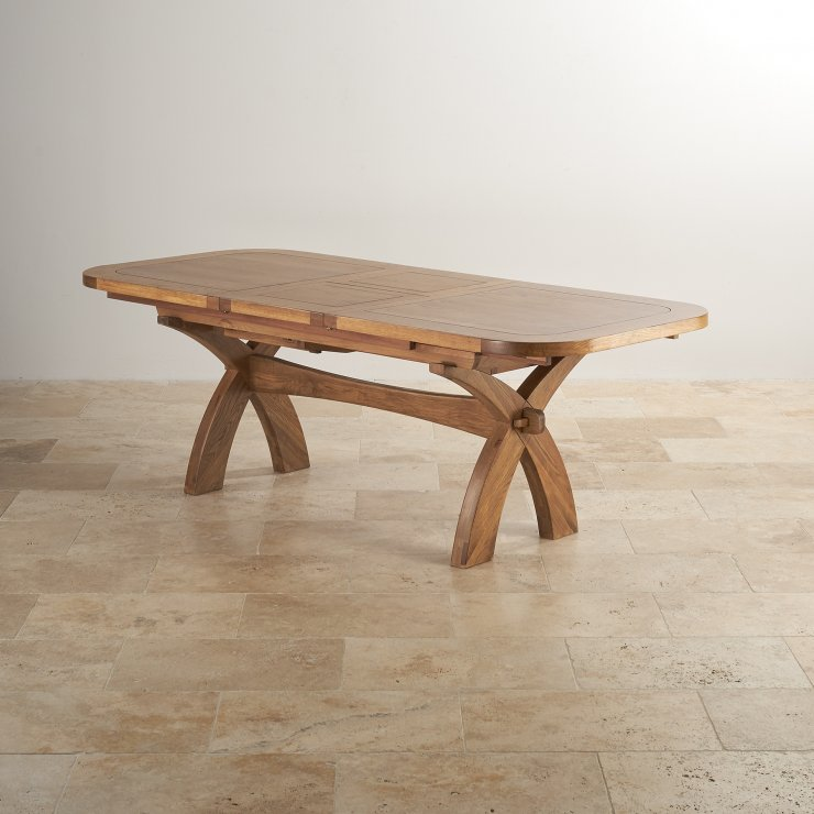 """Hercules 9ft 2"""" x 3ft 3"""" (when extended) Rustic Solid Oak Extending Crossed Leg Dining Table"""