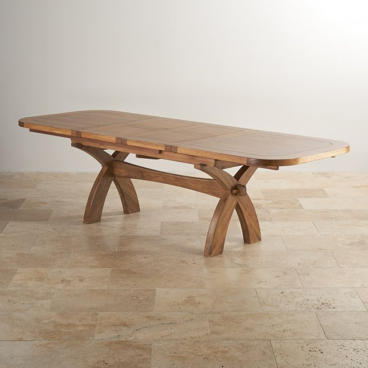 """Hercules 9ft 2"""" x 3ft 3"""" (when extended) Rustic Solid Oak Extending Crossed Leg Dining Table - Image 6"""