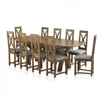 Hercules Rustic Oak Dining Set - 9ft Extending Table + 10 Loop Back Patterned Duck Egg Fabric Chairs