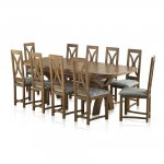 Hercules Rustic Oak Dining Set - 9ft Extending Table + 10 Loop Back Patterned Duck Egg Fabric Chairs - Thumbnail 1