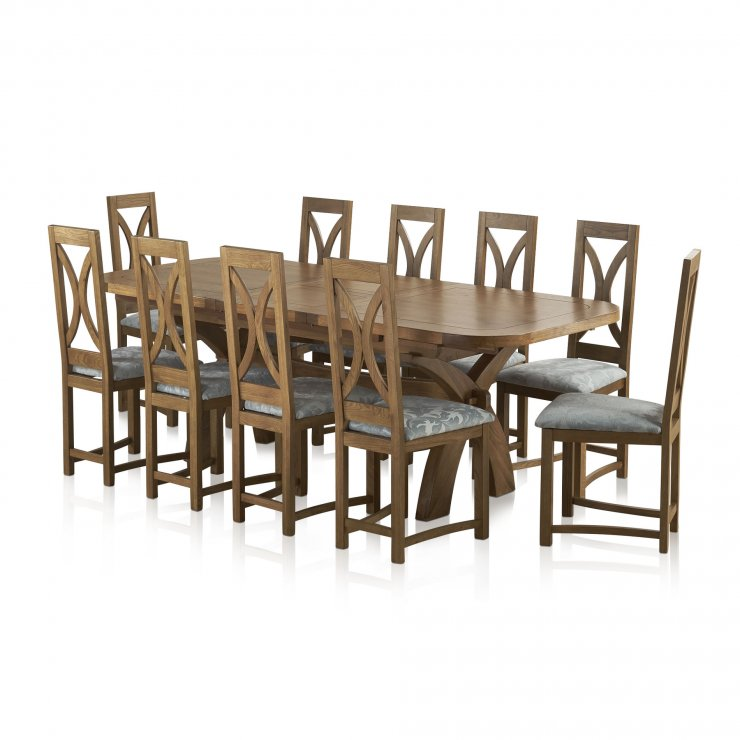 Hercules Rustic Oak Dining Set - 9ft Extending Table + 10 Loop Back Patterned Duck Egg Fabric Chairs - Image 10