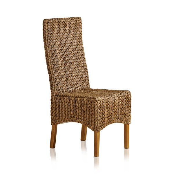 High Back Grass Chair with Natural Solid Mango Legs