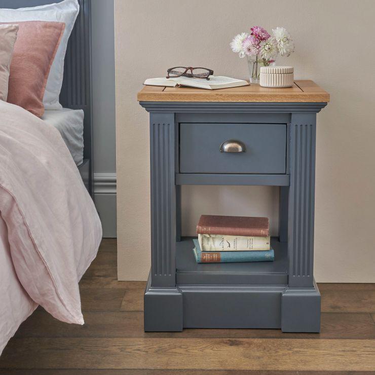 Highgate Rustic Oak and Blue Painted Hardwood 1 Drawer Bedside Table