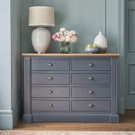Highgate Rustic Oak and Blue Painted Hardwood 8 Drawer Wide Chest - Thumbnail 1