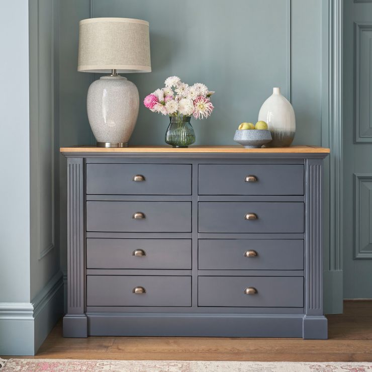 Highgate Rustic Oak and Blue Painted Hardwood 8 Drawer Wide Chest