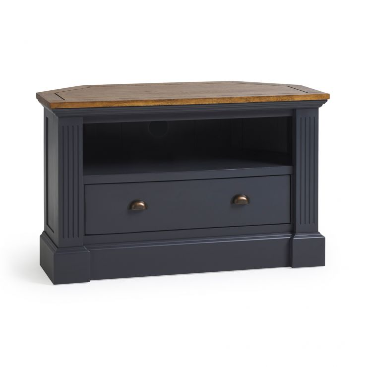 Highgate Rustic Oak and Blue Painted Hardwood Corner TV Unit
