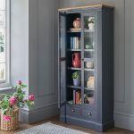 Highgate Rustic Oak and Blue Painted Hardwood Display Cabinet - Thumbnail 1