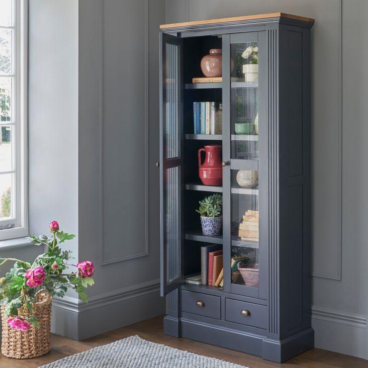 Highgate Rustic Oak and Blue Painted Hardwood Display Cabinet