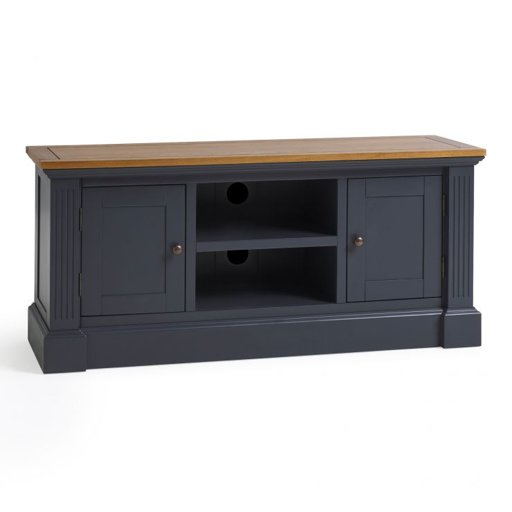 Highgate Rustic Oak and Blue Painted Hardwood Large TV Unit
