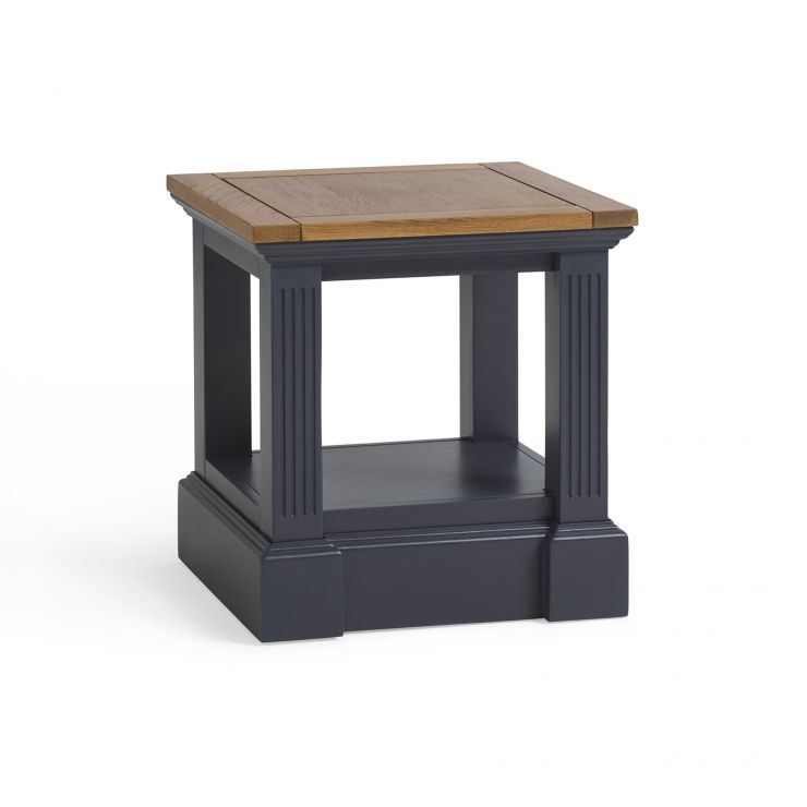 Highgate Rustic Oak and Blue Painted Hardwood Side Table