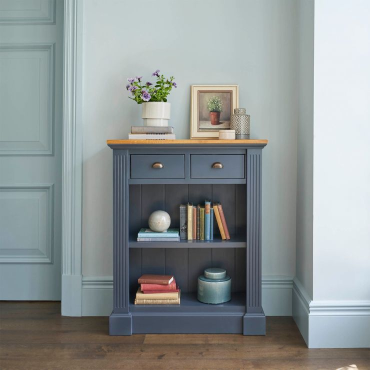 Highgate Rustic Oak and Blue Painted Hardwood Small Bookcase