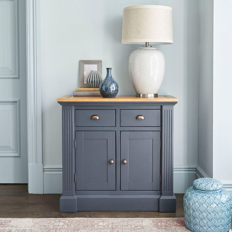 Highgate Rustic Oak and Blue Painted Hardwood Small Sideboard