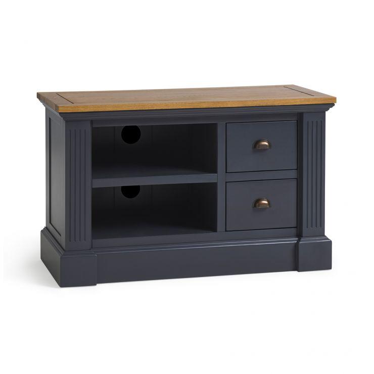 Highgate Rustic Oak and Blue Painted Hardwood Small TV Unit